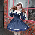 2016 New Navy Wind Full Sleeve Dress Japan Mori Girl Women Lolita Sailor Collar tie Blue Sweet Vintage Royal dress Adorable