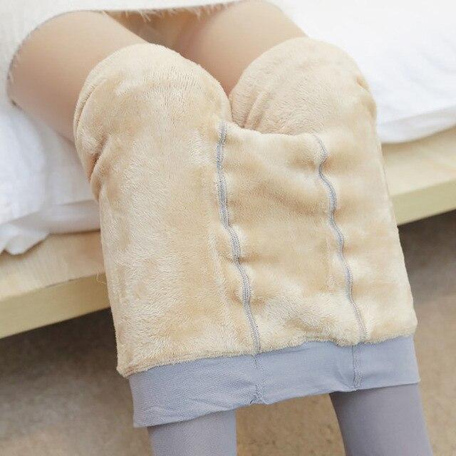 Women Leggings  Autumn Winter Transparent Thick Fleece Lined High Waist Fitness Velvet Leggings Female Warm Pants Leg Warmer