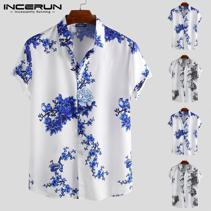 INCERUN Chinese Style Men Shirt Floral Print Lapel Neck Short Sleeve Slim Fit Retro Tops Men Casual Brand Shirts 2019 Camisa 5XL