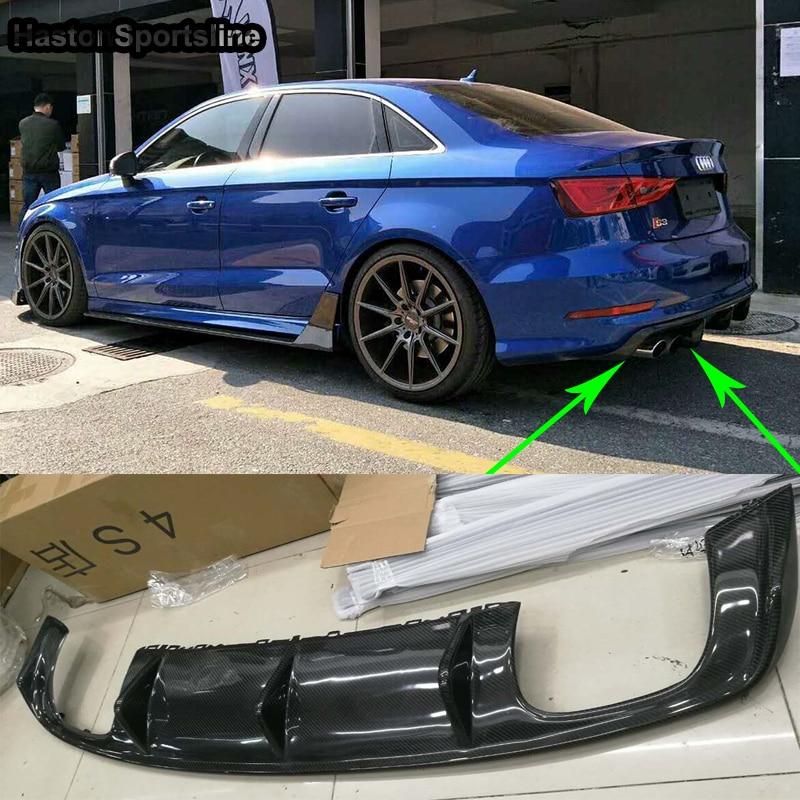 Diffuseur de lèvre de pare-chocs arrière en Fiber de carbone A3 8 V S3 SLine Haston Style pour Audi A3 Sline S3 berline 2013-2016 (non compatible avec la norme A3)