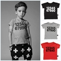 New Design Boy Clothing 2016 Spring Letter Number Short Sleeve Boys T Shirt High Quality Kids Girl Tops T Shirt Children Clothes