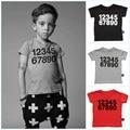 New Design Boy Clothing 2016 Spring Letter Number Short Sleeve Boys T Shirt High Quality Kids Girl Tops T Shirt Children Clothes
