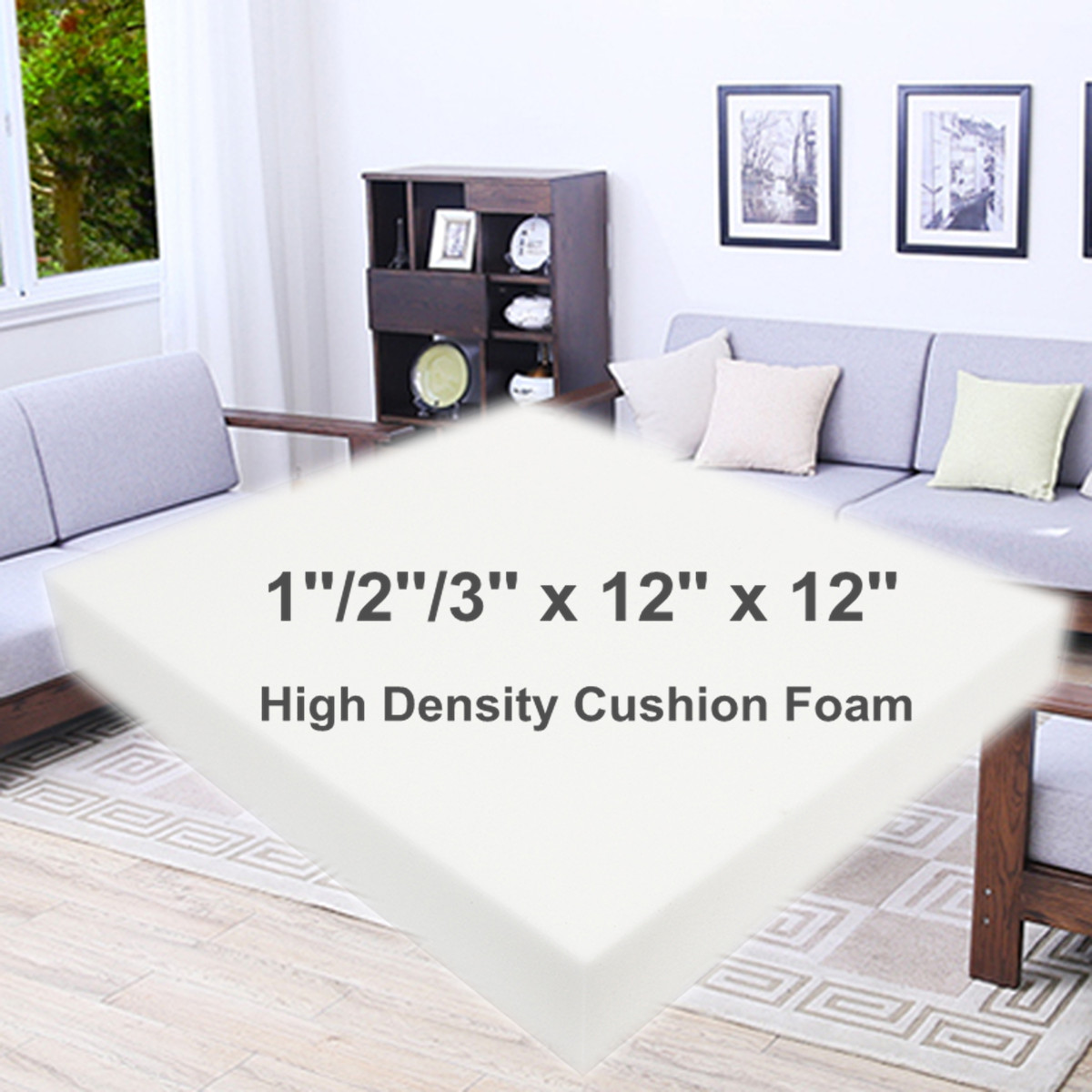 12 Inch Square High Density Seat Foam White Cushion Sheet Upholstery Replacement Pad High Density Premium Chair Cushion Seat Pad