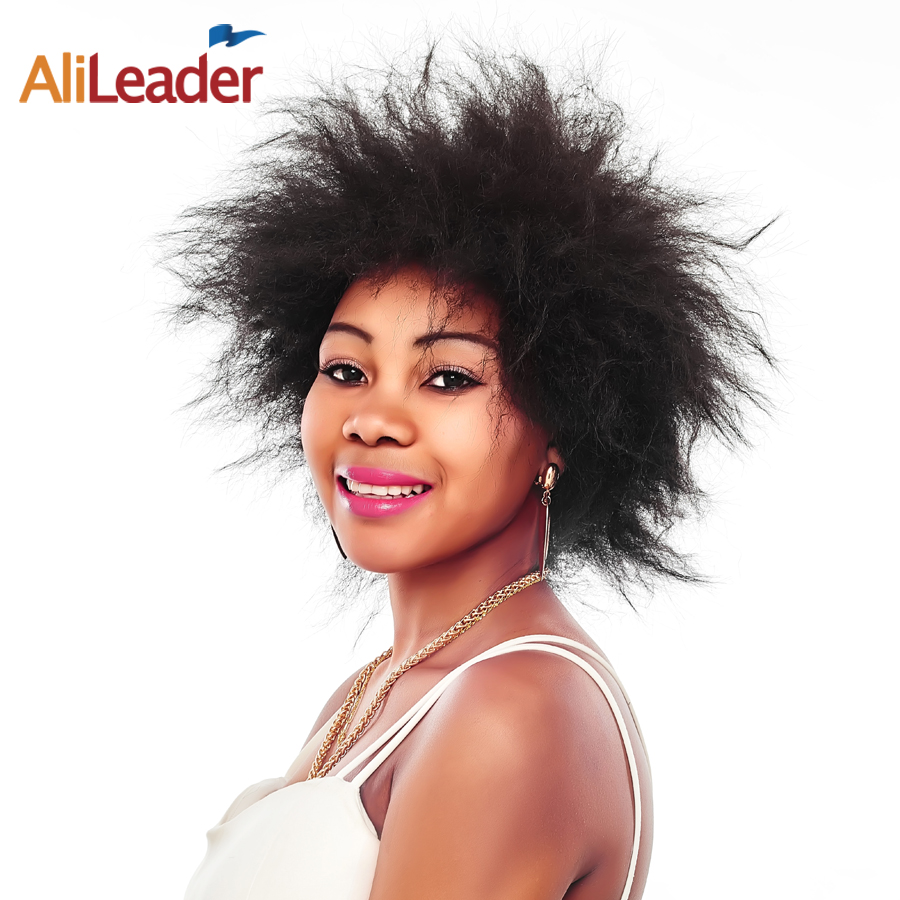AliLeader Products Short Synthetic Hair Kinky Afro Wigs For Black Women Light 92G Pcs 1B 2
