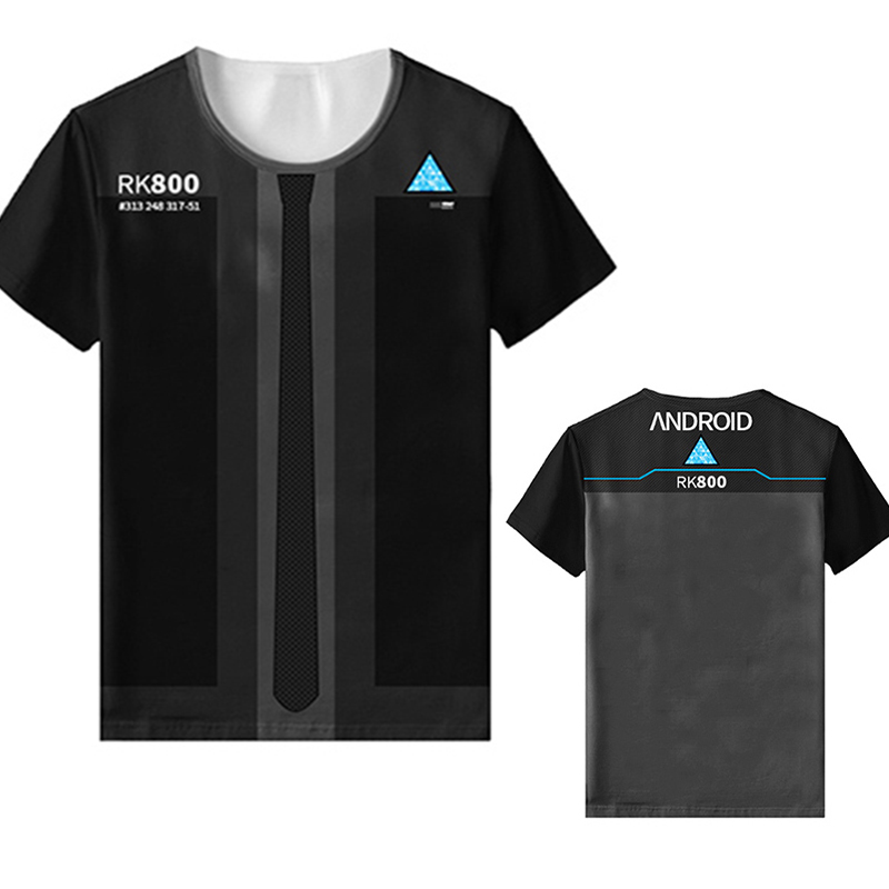 Become Human Cosplay Black Casual T-shirt Costume Detroit