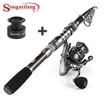 Sougayilang Telescopic Fishing Rod and Reel Combos Portable Pole Spinning Reels Saltwater Freshwater - discount item  58% OFF Fishing