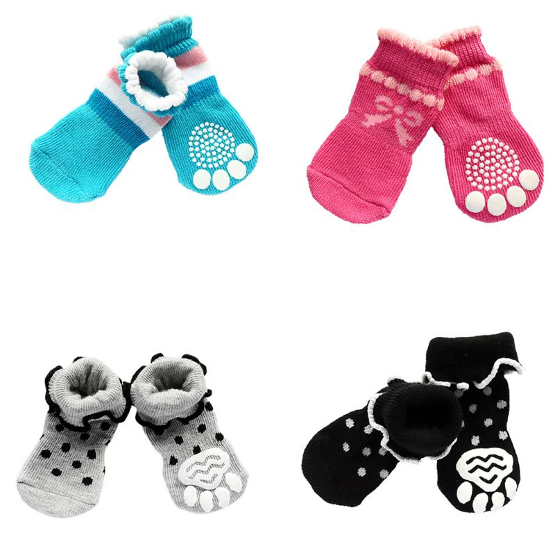 New Product For Small Dog Socks Cotton Pet Shoes With Bottom Non-slippery Warm Sock 4 Pcs Dogs Skid Shoes AA