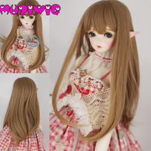 Free Shipping Bjd Wig 1/3 1/4 1/6 High-temperature Fiber Synthetic Girl Long Curly Hair Wig With Bangs On Sale In MUZIWIG(China)