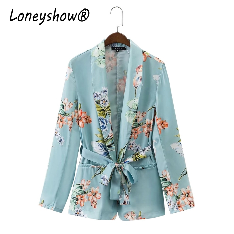 Loneyshow New 2017 Office Autumn Floral Print Blazer Woman Notched Collar Sashes Slim fit Mid long Suit Jacket Coat Outerwear