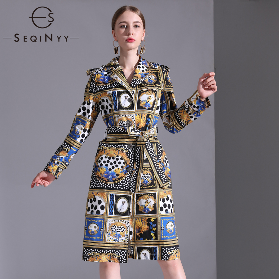 SEQINYY Vintage Trench Coat 2018 Autumn Winter New Woman Fashion Turn-Down Collar Full Sleeve Plus 6XL Belt Printed Long Coat