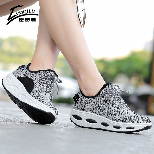 2017 Women Shoes Platform Slimming Shoes Woman Casual Shoes Ladies Wedges Swing Shoes Chaussure Femme