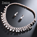 ZAKOL Exclusive Rose Gold Plated Jewelry Set Noble Cubic Zircon Water Drop Earrings Necklace For Women Engagement Bijoux FSSP254