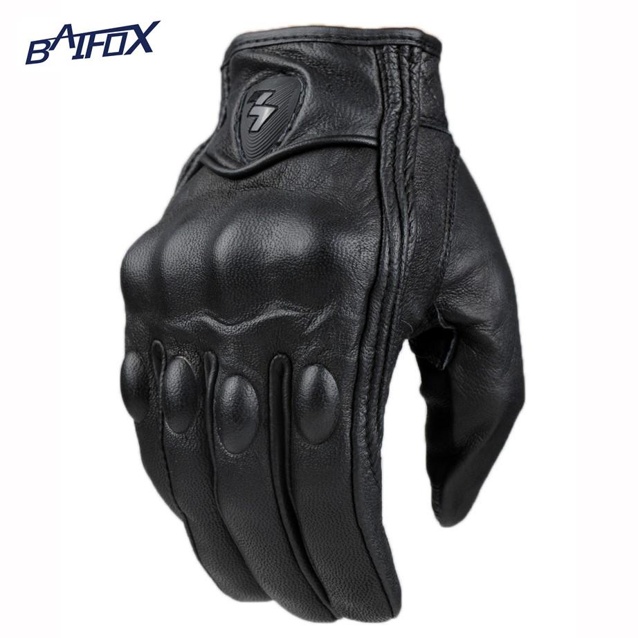 Prix pour 2015 rétro pursuit perforé en cuir véritable moto gants moto étanche gants moto de protection gears motocross gant