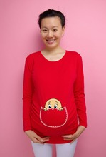 """""""Baby face"""" Coucou série de vêtements pour les femmes enceintes De Noël cadeau 100% coton de maternité à manches longues T-shirt"""