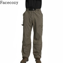 Facecozy New Men Outdoor Camping&Hiking Pant Male Sports Fishing& Climbing Quick-Dry Pants Removable Breathable Trousers Shorts