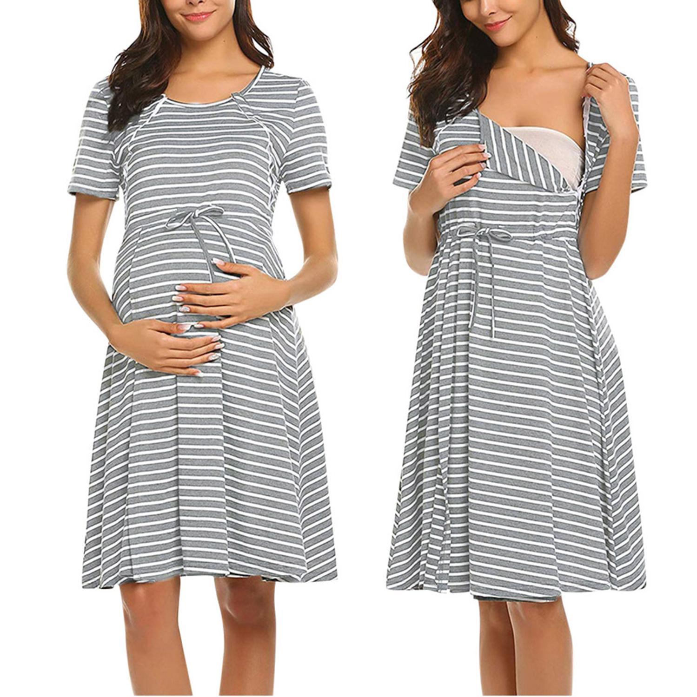 Conquro Fashion Camis/ón Premam/á Falda de la Raya de Lactancia Camis/ón Lactancia Maternidad Vestido Pijamas Mujer Embarazada Amamantando Primavera Verano Vestidos de Cama Hospital