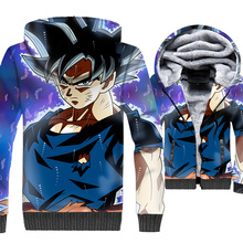 rib sleeve male harajuku Anime sweatshirt 3D print swag coats Dragon Ball super Saiyan tracksuits 2018 men thicken warm jackets