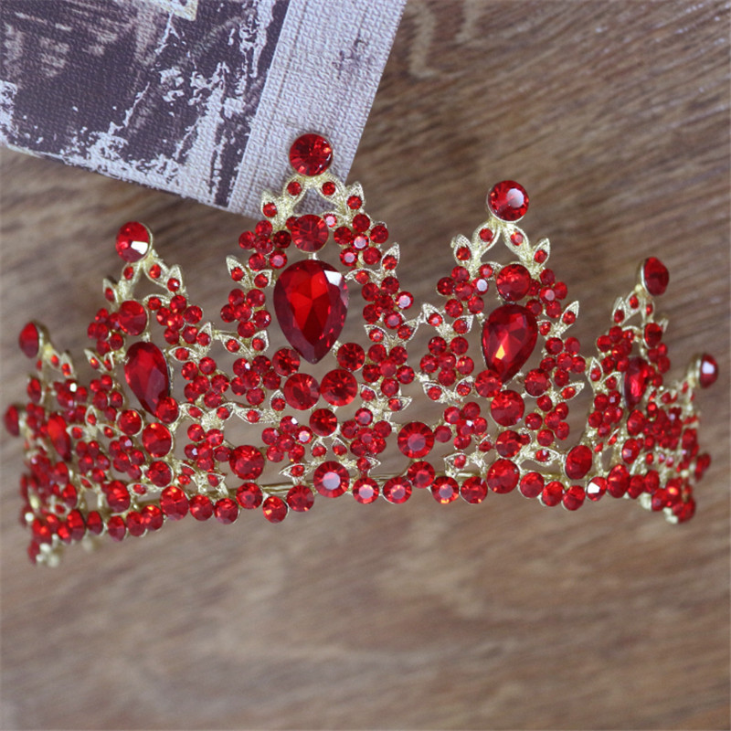 4 Style Baroque Luxury Handmade Bridal Crown Tiaras Gold Red Crystal Diadem Tiaras for Bride Headbands Wedding Hair Accessories grand gorgeous gold hair tiaras empress bride wedding hair piece thousand hand guanyin buddha dance props
