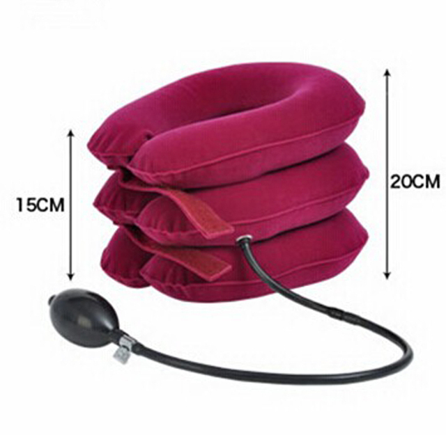 Fully velvet Cervical Neck Traction Collar Portable Inflatable Device Rose Red Relieve Neck Fatigue