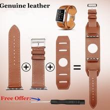 Envío gratis nueva alta calidad 38 mm 42 mm cuero genuino venda de reloj suave correa de cuero marrón para Apple relojes 1 unids