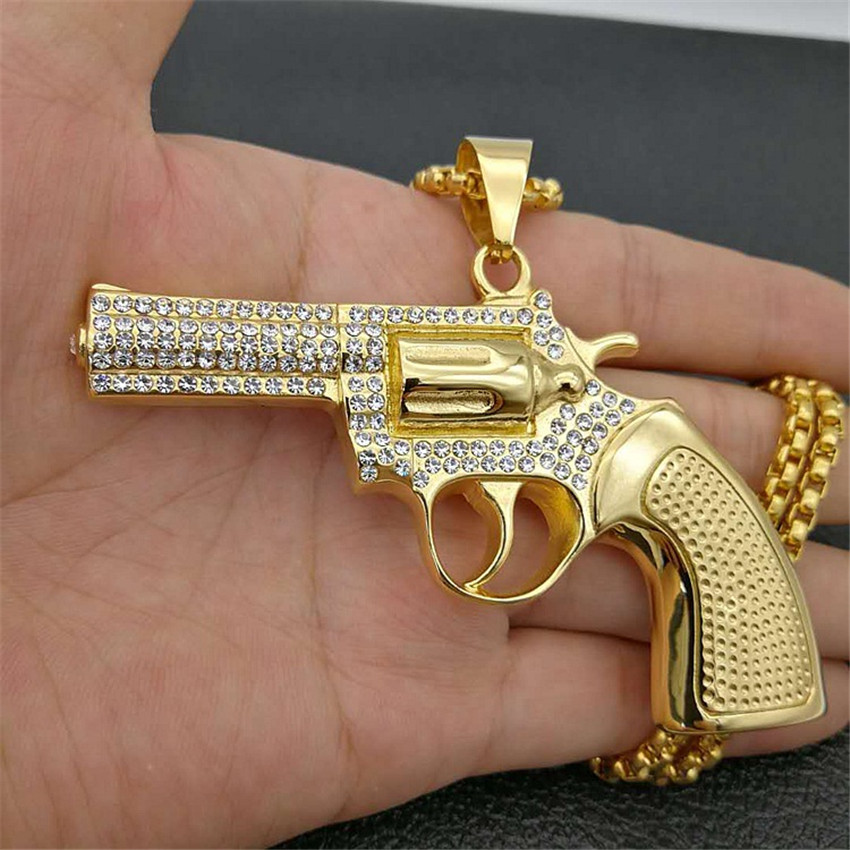 Hip Hop Big Revolver Gun Pendants Necklaces For Men Gold Color Stainless Steel Chain Iced Out Rhinestone Male Military Jewelry soitis free mason hip hop stainless steel past master masonic free mason freemasonry pendants mason necklaces gold color