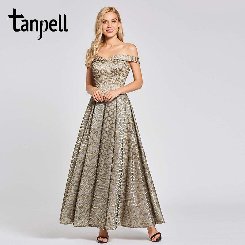 Купить женское вечернее платье на молнии tanpell золотистое трапециевидное