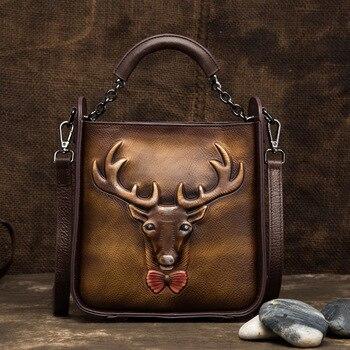 Norbinus Cowhide Women Shoulder Messenger Bag Genuine Leather Top Handle Bags Vintage Ladies Deer Pattern Handbags Female Totes