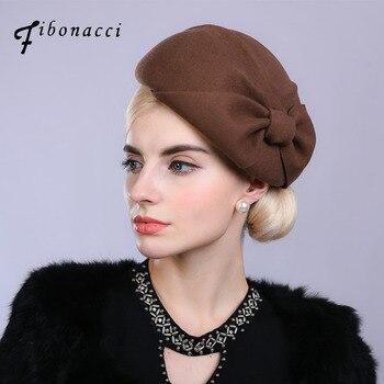241a6f37849b7 Fibonacci Noble elegante mujeres lana fieltro boina novia tocado Fedora  sombrero cena fiesta boda sombreros