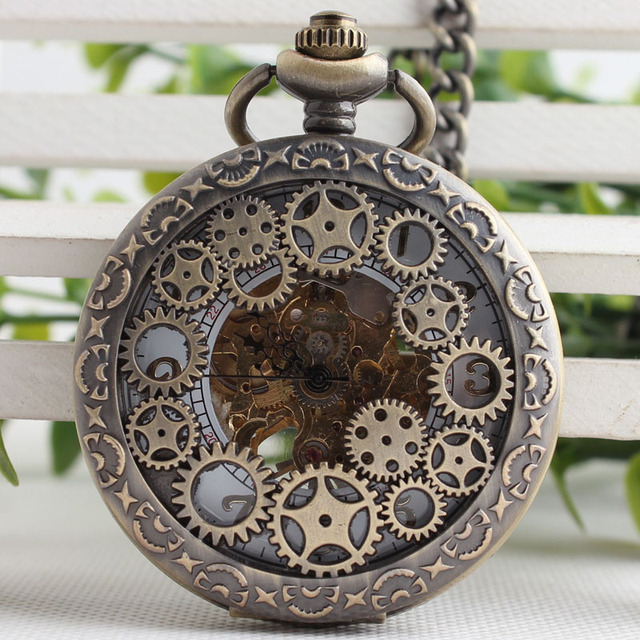 5 Colors Gear Wheel Hollow Hand Winding Mechanical Pocket Watch Fob Watches Men