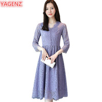YAGENZ Spring Autumn Lace Dress Womens Long section Fashion V collar Young Lady Seven points sleeve Slim Purple Long Dresses 880