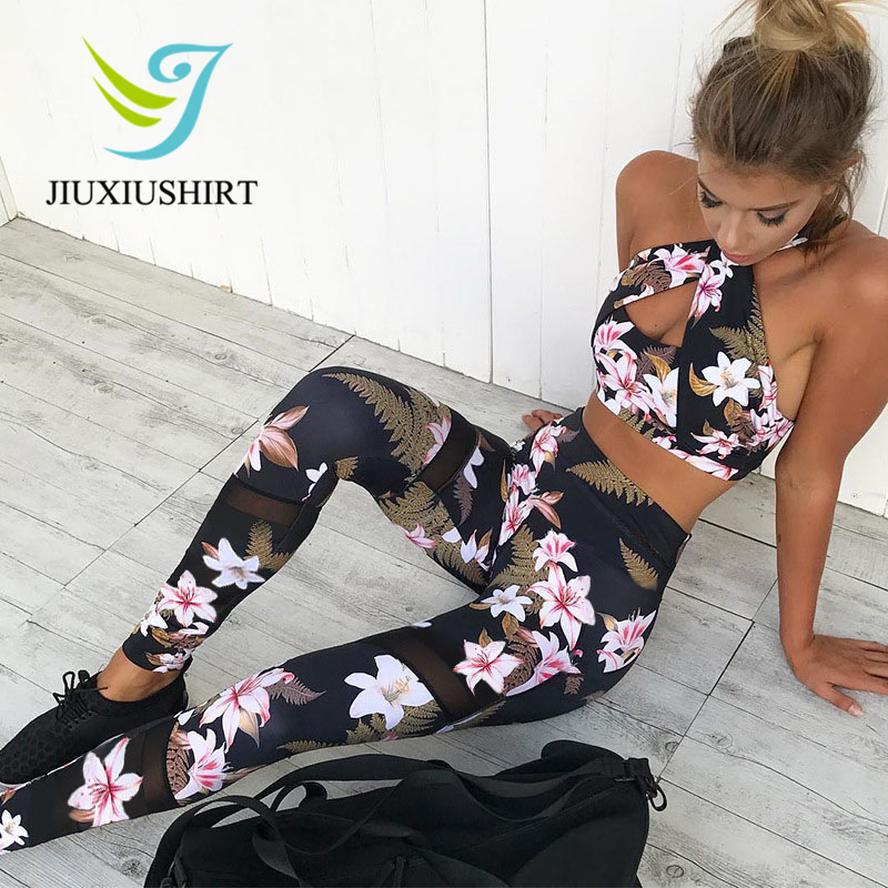 Women 2 Piece Yoga Set Gym Fitness Clothes Floral Print Bra+Long Pants Running Tights Jogging Workout Yoga Leggings Sport suit women s sportive floral print skinny yoga leggings