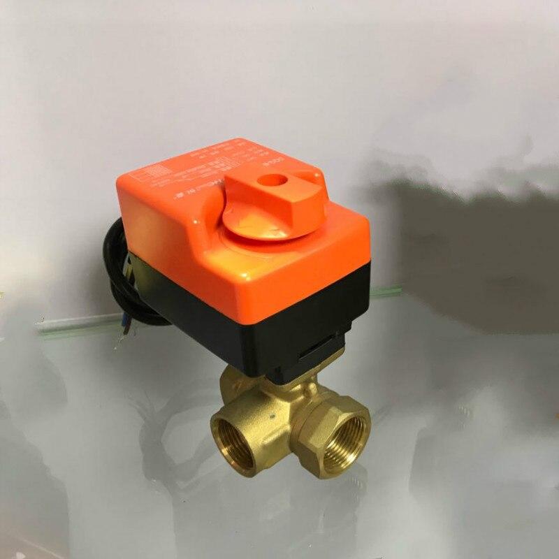 Vanne à boisseau sphérique électrique en laiton 220 V 3 voies vanne à boisseau sphérique motorisée avec actionneur électrique interrupteur à boisseau sphérique à commande manuelle DN15 DN20