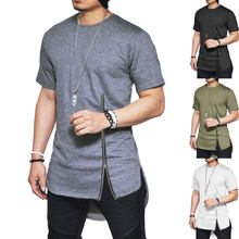 Men's Short Sleeve Mid Zipper T shirt Hip Hop Solid Streetwear Tee Shirt Side Slit T-shirt Men Longline Swag Hem Funny Tee Tops(China)