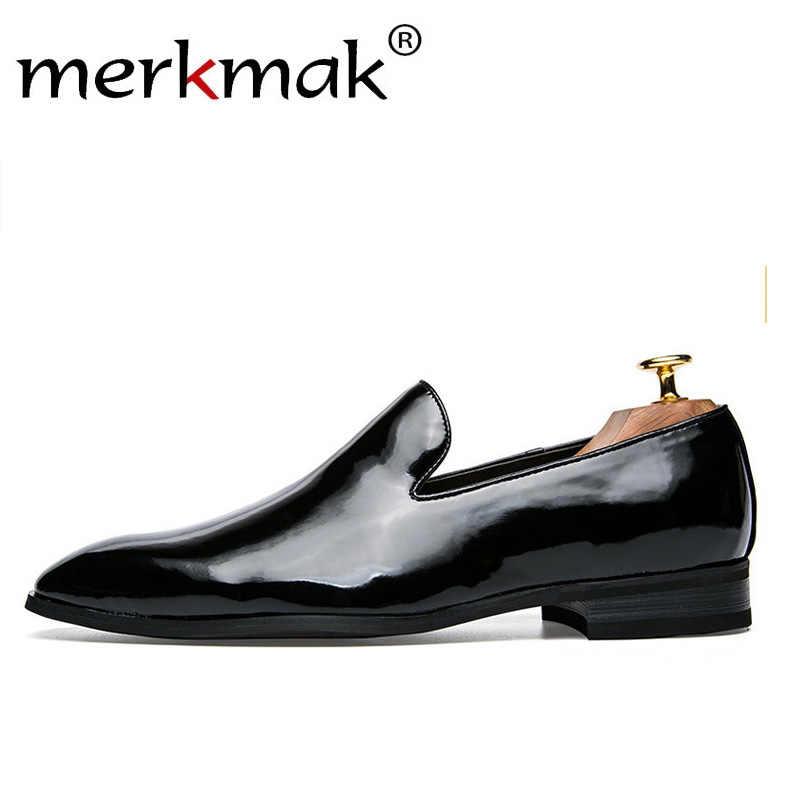 Merkmak Men Dress Loafers Retro Elegant Formal Business Brand Men Shoes  Italian Style Oxfords Gold Black 217e2d898ed1