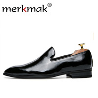 Merkmak Men Dress Loafers Retro Elegant Formal Business Brand Men Shoes Italian Style Oxfords Gold Black Comfortable Male Shoes