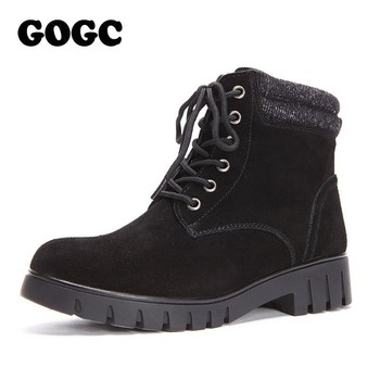 GOGC Genuine Leather Ankle Boots Winter Shoes for Women Warm Lace up Square Heel Snow Boots Motorcycle Winter Boots Women 9826