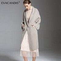 Wool Cashmere Coat Gray Pocket White Elegant Vintage Warm Handmade Office Designer Autumn Winter Woolen Overcoat Women