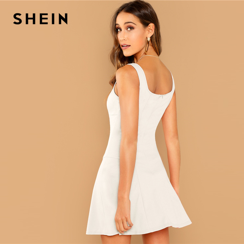 SHEIN Going Out White Fit Flare Solid Sleeveless Straps Zipper Short Plain Dress Elegant Women Autumn Modern Lady Dresses