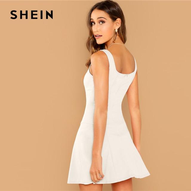 SHEIN Going Out White Fit Flare Solid Sleeveless Straps Zipper Short Plain Dress Elegant Women Autumn Modern Lady Dresses 2