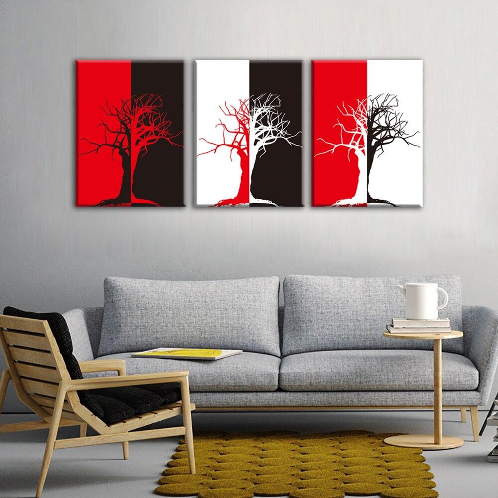 Schwarz Rot und Weiß Abstrakten Baum Moderne Malerei Raumdekor Druck ...
