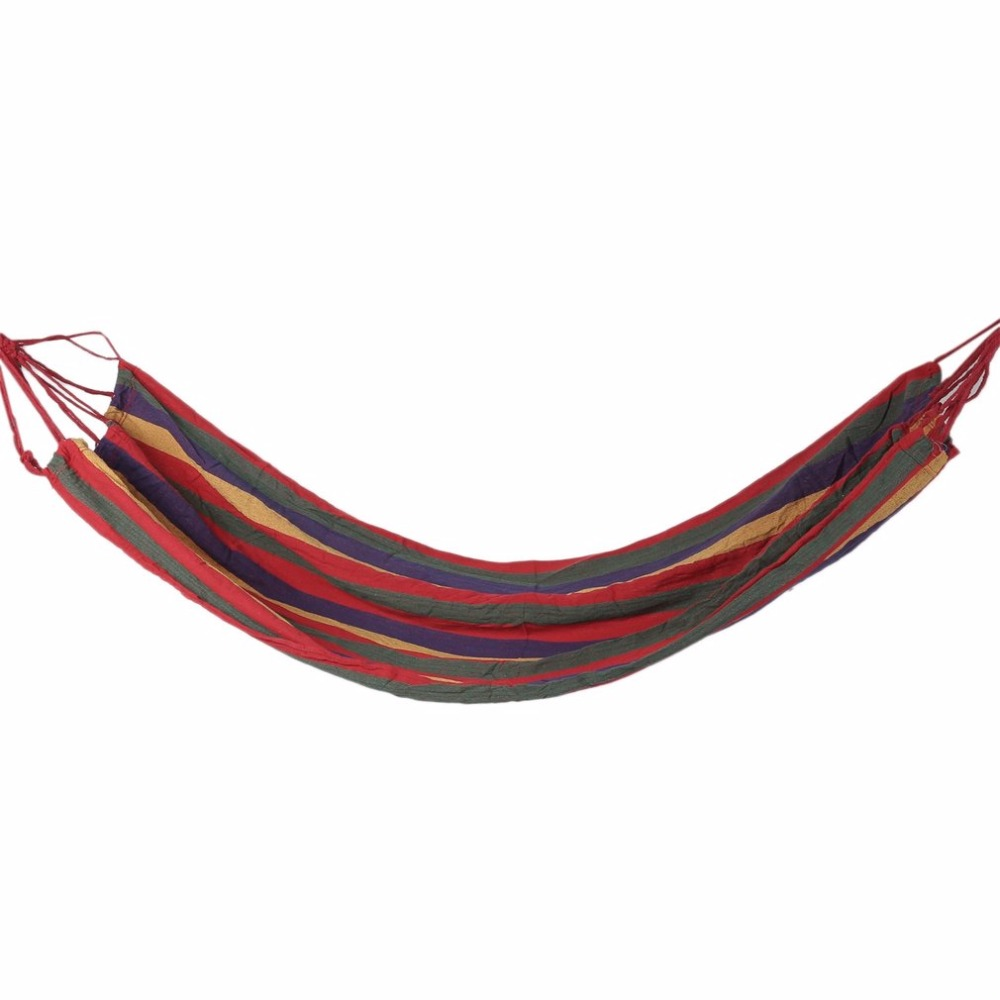 Outdoor Portable Hammock Garden Sports Home Travel Camping Canvas Stripe Hang Swing Single Bed Hammock Red/Blue 280*80cm 200kgs