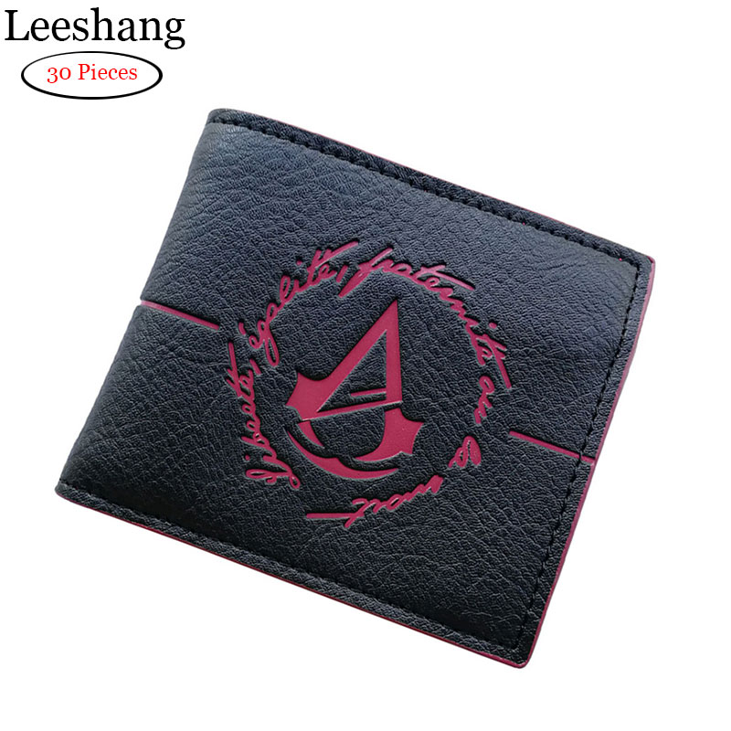 Leeshang wholesale Assassins Creed Wallet With Coin Pocket Assassins Creed insignia Leather Small Purse Men's Wallet leeshang marvel captain america bi fold wallet dft 1007a for dft 1995 fold mini small wallet