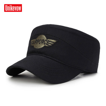 UNIKEVOW gorra militar de la Fuerza Aérea bordado gorra del ejército lavado plana  sombrero al aire libre para los hombres tapa gorra de alta calidad 940d5690879