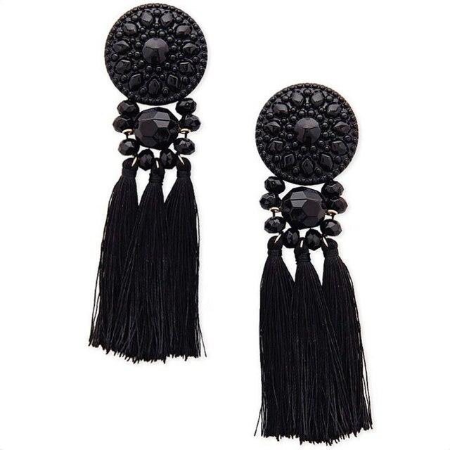 2018 Statement Ethnic Black Tassels Earring For Women Vintage Long Fringe Drop E