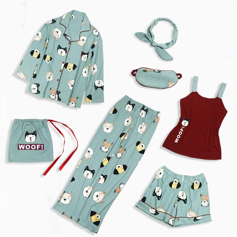 Image 5 - JRMISSLI Cartoon Dog Sexy Sleeping Pijamas Sleepwear Spring Cotton 7 Pieces Pajama Set Pyjama Femme Home Clothes-in Pajama Sets from Underwear & Sleepwears
