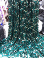 Free shipping (5yards/pc) teal green sequins tassels lace fabric African French net lace fabric for fashion party dress FLV59