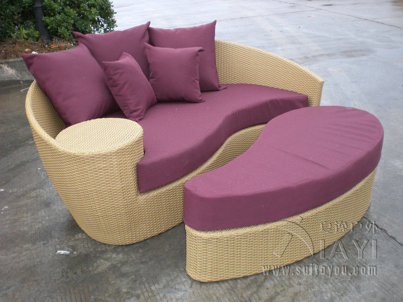 fashion brown outdoor rattan daybed garden patio furniture transport by sea