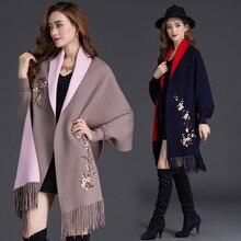 """Осень зима размера плюс вышивка рукав """"летучая мышь"""" Пончо Женское пальто плащ с цветочным узором кардиган свитер с кисточкой"""