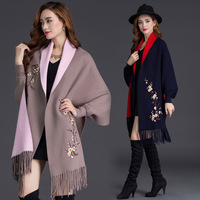 2018 Autumn Winter Plus Size Embroidery Batwing Sleeve Poncho Women Overwear Coat Floral Cloak Cardigans Sweater With Tassel