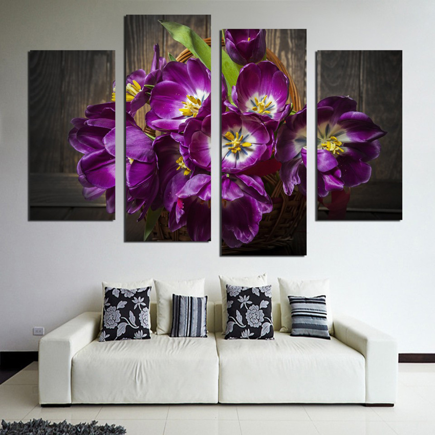Purple Flower Wall Art compare prices on wall art purple tulips- online shopping/buy low